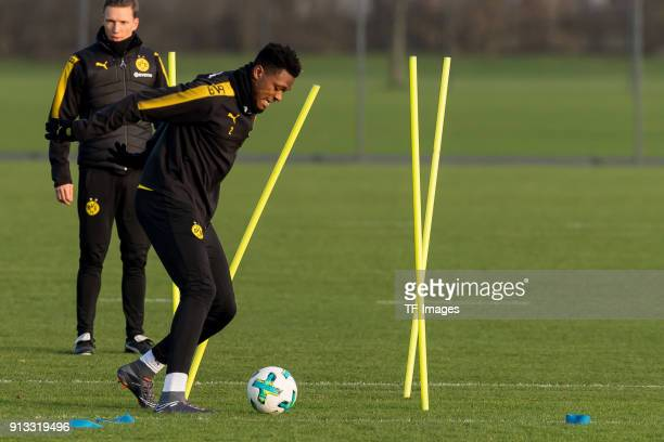 DanAxel Zagadou of Dortmund controls the ball during a training session at BVB trainings center on January 30 2018 in Dortmund
