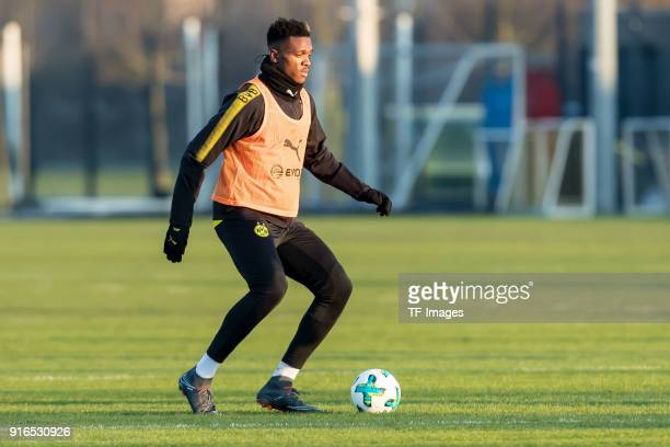 DanAxel Zagadou of Dortmund controls the ball during a training session at BVB trainings center on February 05 2018 in Dortmund Germany
