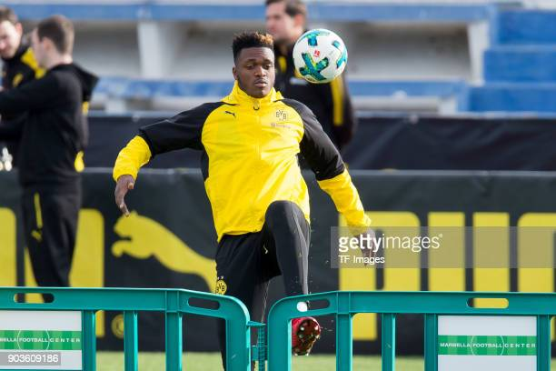 DanAxel Zagadou of Dortmund controls the ball during the Borussia Dortmund training camp at Marbella Football Center on January 07 2018 in Marbella...
