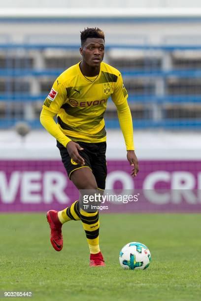 DanAxel Zagadou of Dortmund controls the ball during the Friendly match between Borussia Dortmund and SV Zulte Waregem at Estadio Municipal de...