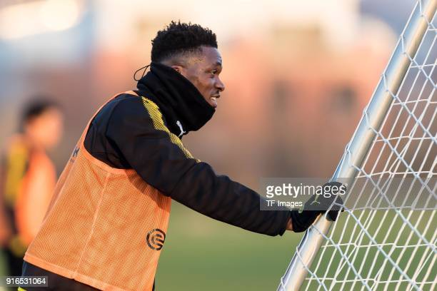 DanAxel Zagadou of Dortmund looks on during a training session at BVB trainings center on February 05 2018 in Dortmund Germany