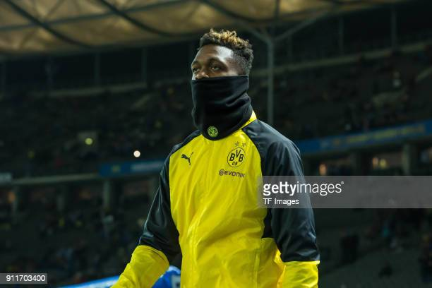 DanAxel Zagadou of Dortmund looks on prior to the Bundesliga match between Hertha BSC and Borussia Dortmund at Olympiastadion on January 19 2018 in...