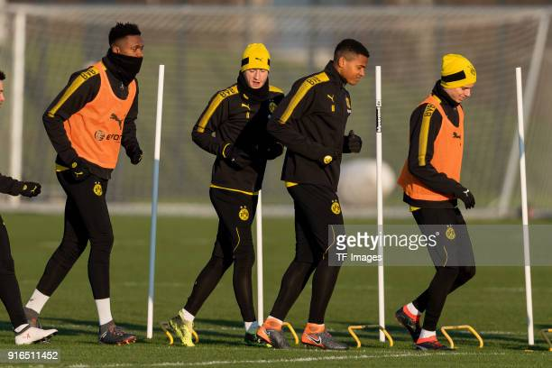 DanAxel Zagadou of Dortmund Marco Reus of Dortmund Manuel Akanji of Dortmund and Julian Weigl of Dortmund in action during a training session at BVB...