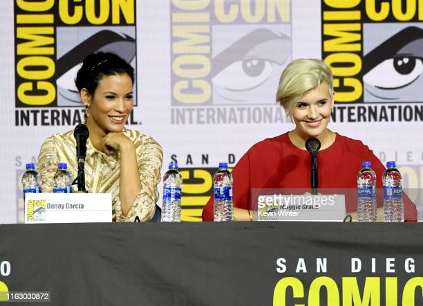 Danay Garcia and Maggie Grace speak at the Fear The Walking Dead Panel during 2019 ComicCon International at San Diego Convention Center on July 19...