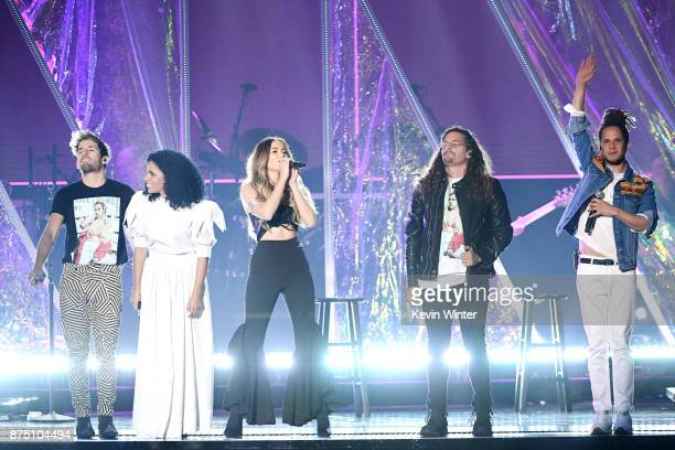 Danay Suarez Sofia Reyes Vicente Garcia and Mau y Ricky perform onstage at the 18th Annual Latin Grammy Awards at MGM Grand Garden Arena on November...