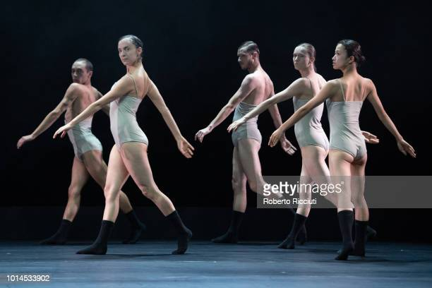 Dance Company perform 'Love Cycle Love Chapter 2' on stage during a photocall for the Edinburgh International Festival 2018 at King's Theatre on...