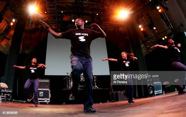 Dance crew Soul Steps performs at Celebrate Brooklyn at the Prospect Park Bandshell on July 10 2008 in Brooklyn New York