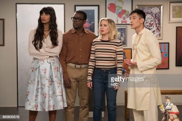 PLACE 'Dance Dance Resolution' Episode 203 Pictured Jameela Jamil as Tahani William Jackson Harper as Chidi Kristen Bell as Eleanor Shellstrop Manny...