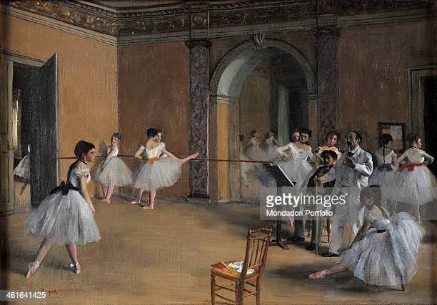 Dance Foyer at the Opera by Edgar Degas 19th Century oil on canvas France Paris Orsay Museum Whole artwork view A group of dancers warming up in...