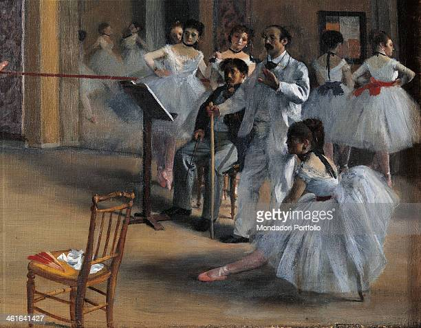 Dance Foyer at the Opera by Edgar Degas 19th Century oil on canvas France Paris Orsay Museum Detail A group of dancers warming up in front of their...