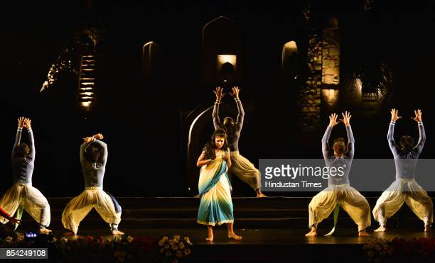 Dance group performs Indian contemporary form presenting National EpicMahabharata at Purana Qila Dance Festival organised by Sahitya Kala Parishad on...