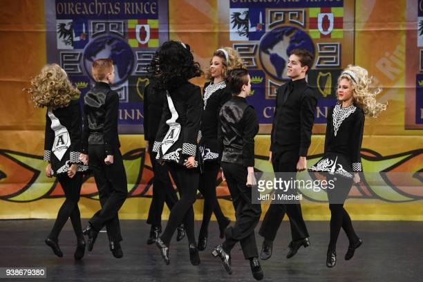 A dance group takes part in day four of the World Irish Dancing Championships on March 27 2018 in Glasgow Scotland The World Irish Dancing...