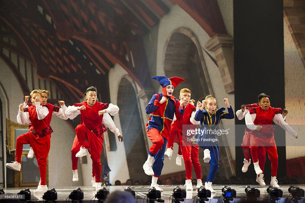 Dance group Unity perform on stage during the third live show of 2014's 'Got To Dance' at Earls Court on August 27, 2014 in London, England.