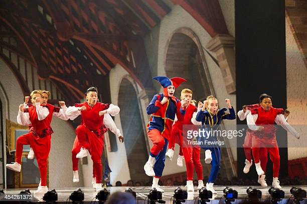 Dance group Unity perform on stage during the third live show of 2014's 'Got To Dance' at Earls Court on August 27 2014 in London England