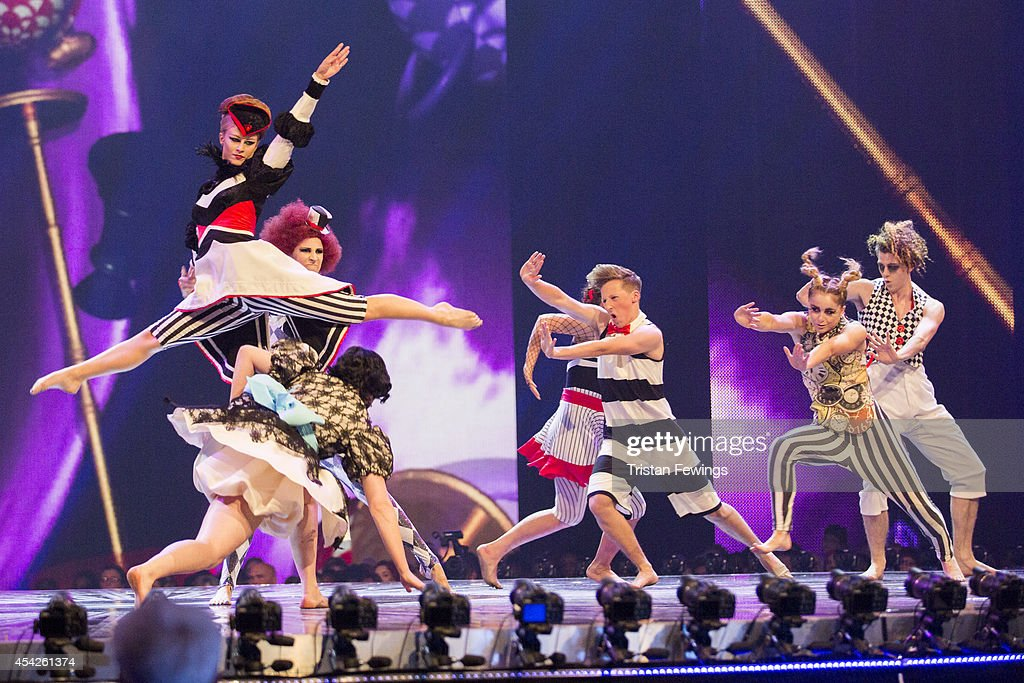 Dance group Untitled perform on stage during the third live show of 2014's 'Got To Dance' at Earls Court on August 27, 2014 in London, England.