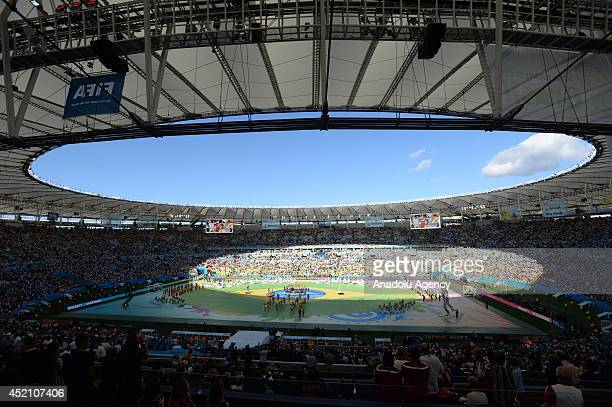 Dance groups perform during the closing ceremony at the FIFA World Cup 2014 between Germany and Argentina at the Maracana stadium in Rio de Janeiro...