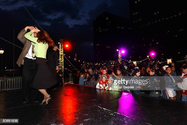 Dance instructors Rodney Lopez and Alee Reed perform onstage during the Mad Hot Ballroom drivein screening at the Tribeca Film Festival April 24 2005...
