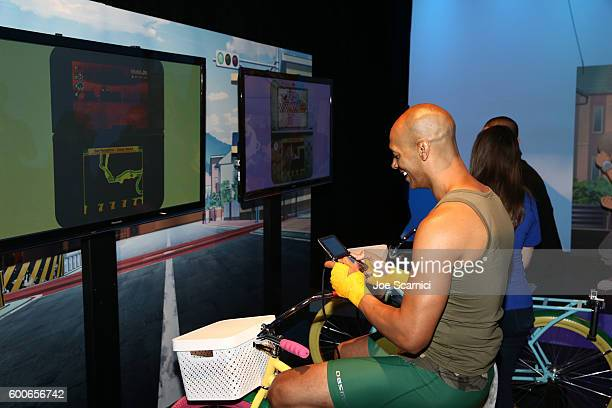 'Dance It Out' founder Billy Blanks Jr checks out YoKai Watch 2 for Ninendo 3DS at the YOKAI WATCH 2 preview event at Siren Studios on September 8...