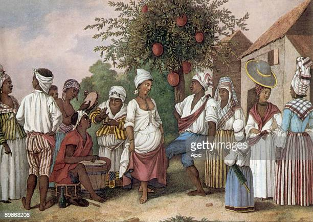 dance of locals in Santo Domingo engraving by Brunais late 18th century