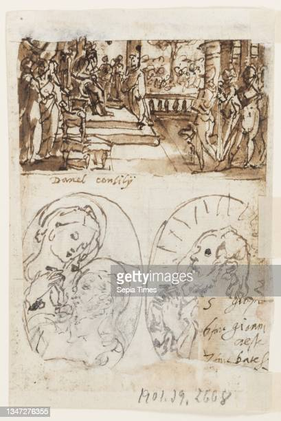 Dance of Salome; Verso, above: Daniel's interpretation of the second dream of King Nebuchadnezzar, preliminary design for 'Spiritus Consilii' , plate...