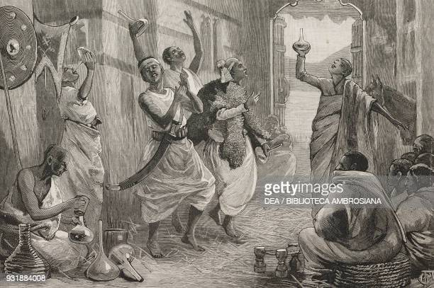 Dance of the groomsmen at an Abyssinian wedding Adwa the Admiral William Hewett's embassy to King John of Abyssinia Ethiopia drawing by Frederic...