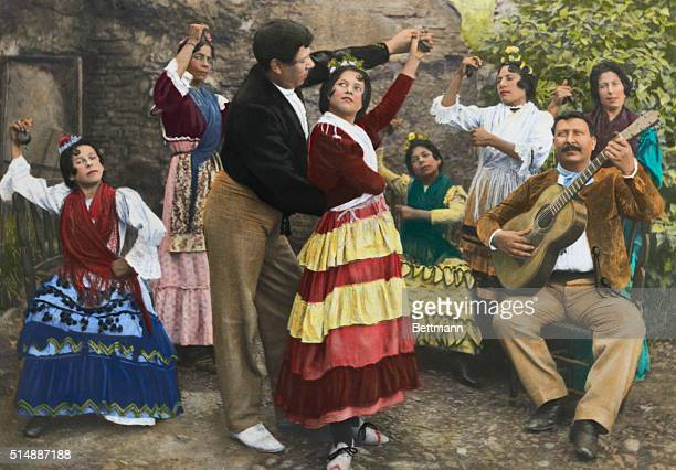 Dance of the Gypsies in Granada Spain Men and women dance to guitar and castinets