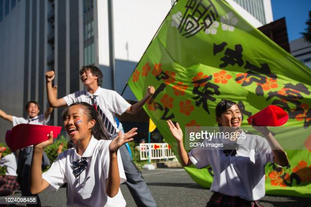 Dance participants seen Performing on the street in Nagoya Nippon Domannaka Festival in Nagoya Aichi One of the largest dance festival in Japan The...
