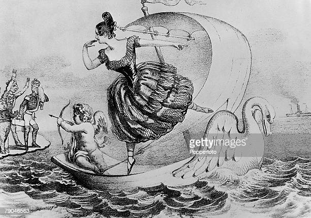 circa 1840's Lola Montez Irish born dancer born Eliza Gilbert adventuress and dancer pictured in this illustration from a New York newspaper She was...