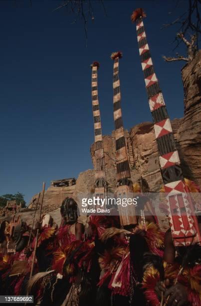 Dance procession of the Dogon, Bandiagara Escarpment, Mali, 2002.