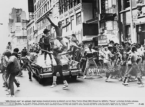 A dance scene entitled '46th Street Jam' from Alan Parker's musical 'Fame' 46th Street New York City 1980