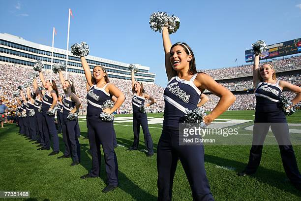 A dance team cheerleader of the Penn State Nittany Lions leads a cheer against the University of Iowa Hawkeyes at Beaver Stadium on October 6 2007 in...