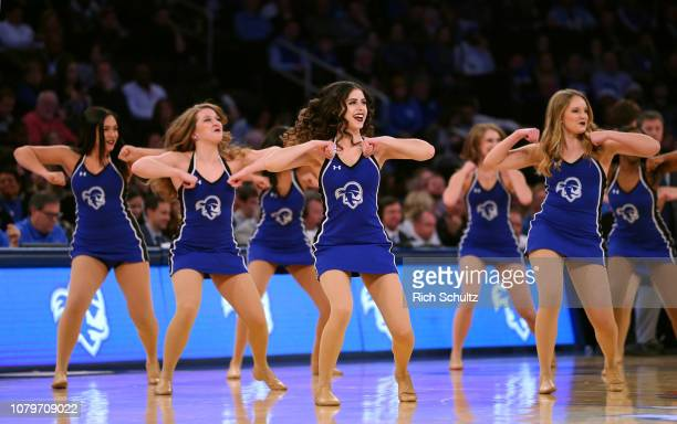 Dance team members of the Seton Hall Pirates in action against the Kentucky Wildcats during a college basketball game at Madison Square Garden on...