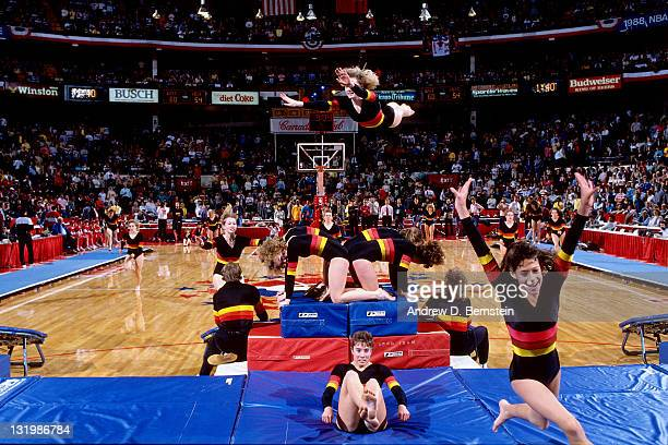 A dance team performs during the 1988 NBA AllStar Game on February 7 1988 at the Chicago Stadium in Chicago Illinois NOTE TO USER User expressly...