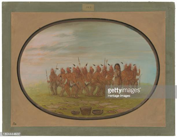 """""""Dance to the Berdache - Saukie"""" a painting by American artist George Catlin depicting a traditional annual dance of the Native American Sauk people...."""