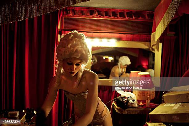Dance troupe Cabaret Rouge leader Katie Derry backstage at Cafe de Paris gets ready for their second act which has a Victorian theme Every Saturday...
