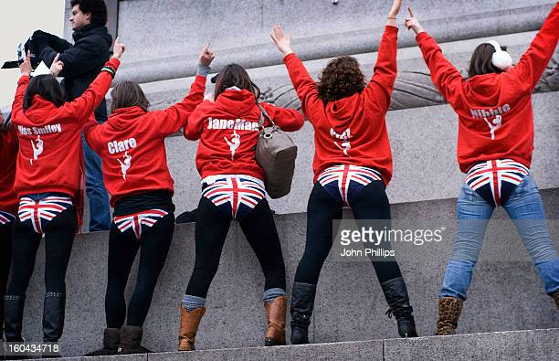 Dance troupe from Leeds shooting a promotional video in Trafalgar Square in London. By chance they arrived at the end of a demonstration by about...