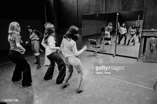 Dance troupe Pan's People including member Babs Lord practicing choreography during rehearsals for the BBC television show 'Top of the Pops' August...