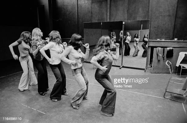 Dance troupe Pan's People including members Babs Lord and Cherry Gillespie practicing choreography during rehearsals for the BBC television show 'Top...