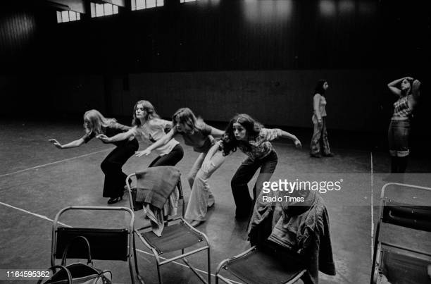 Dance troupe Pan's People including members Babs Lord Sue Menhenick Deedee Wilde Cherry Gillespie and Ruth Pearson practicing choreography during...