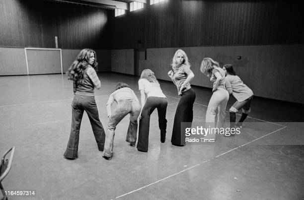 Dance troupe Pan's People including members Cherry Gillespie and Babs Lord practicing choreography during rehearsals for the BBC television show 'Top...
