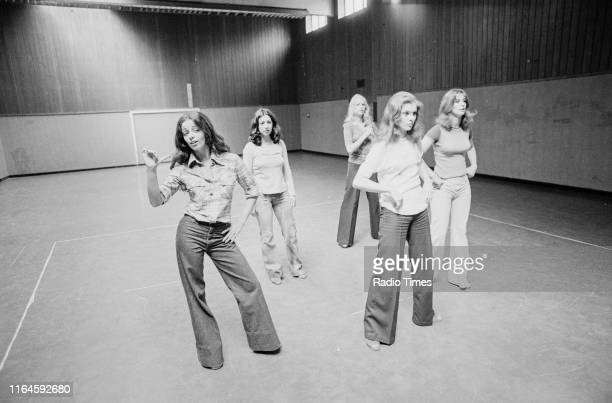 Dance troupe Pan's People including members Cherry Gillespie Ruth Pearson Babs Lord Sue Menhenick and Deedee Wilde practicing choreography during...