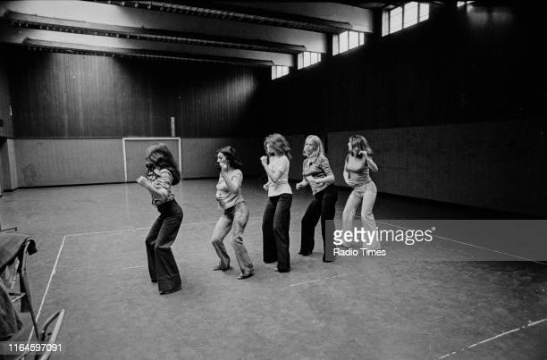 Dance troupe Pan's People including members Cherry Gillespie Ruth Pearson Sue Menhenick Babs Lord and Deedee Wilde practicing choreography during...