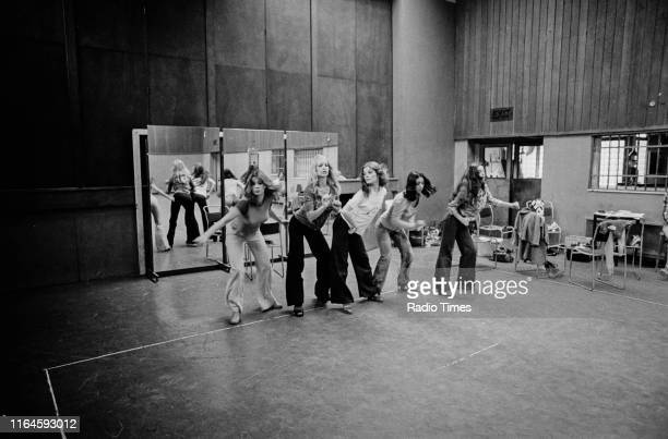 Dance troupe Pan's People including members Deedee Wilde Babs Lord Sue Menhenick Ruth Pearson and Cherry Gillespie practicing choreography during...