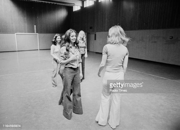 Dance troupe Pan's People including members Ruth Pearson Cherry Gillespie Babs Lord and Deedee Wilde practicing choreography during rehearsals for...