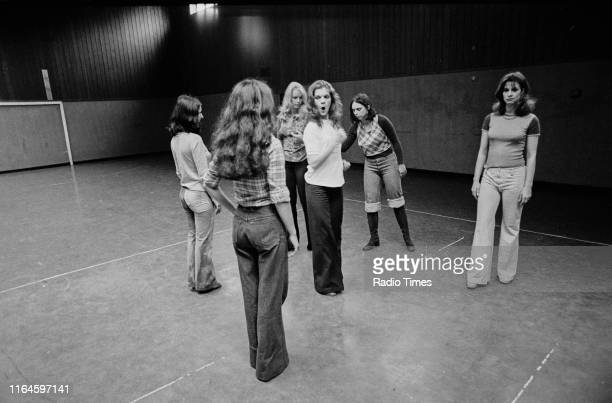 Dance troupe Pan's People including members Ruth Pearson Cherry Gillespie Babs Lord Sue Menhenick unknown and Deedee Wilde practicing choreography...