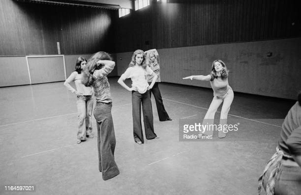 Dance troupe Pan's People including members Ruth Pearson Cherry Gillespie Sue Menhenick Babs Lord and Deedee Wilde practicing choreography during...