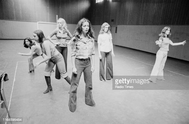 Dance troupe Pan's People including members Ruth Pearson unknown Babs Lord Cherry Gillespie Sue Menhenick and Deedee Wilde practicing choreography...