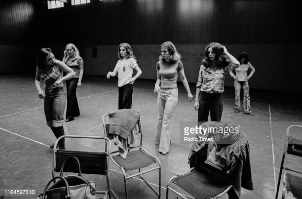 Dance troupe Pan's People including members unknown Babs Lord Sue Menhenick Deedee Wilde Cherry Gillespie and Ruth Pearson practicing choreography...