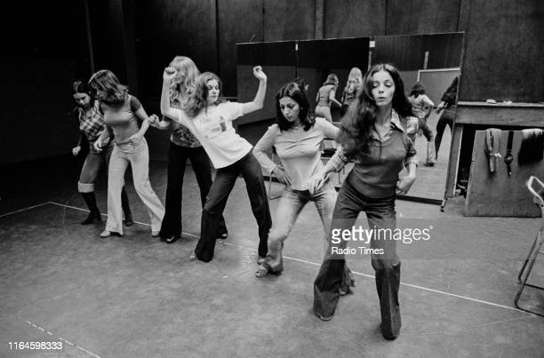 Dance troupe Pan's People including members unknown Deedee Wilde Babs Lord Sue Menhenick Ruth Pearson and Cherry Gillespie practicing choreography...