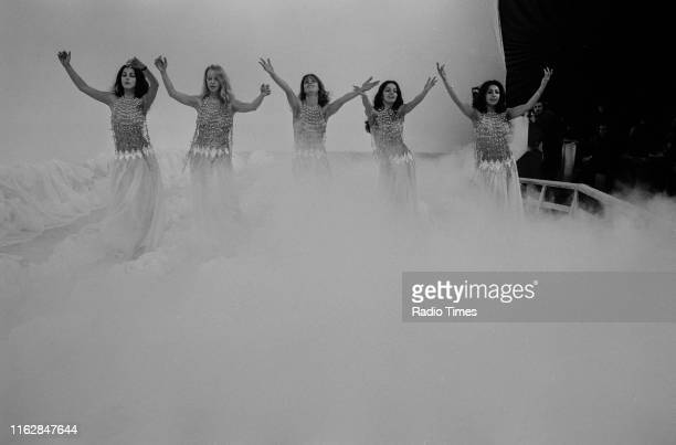 Dance troupe Pan's People Louise Clarke Babs Lord Deedee Wilde Cherry Gillespie and Ruth Pearson performing on the set of the BBC television show...